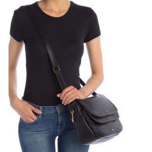 FOSSIL Peyton Black Leather Crossbody Bag